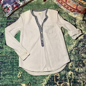 J. Crew Tops - Two-Tone Chambray J. Crew Henley Popover • Size 0